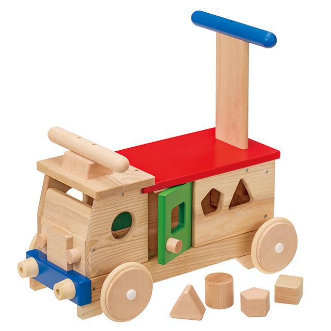 ◎MOCCO モッコ カラフルバス KH-602[押し車 積み木 手押し車 赤ちゃん おもちゃ 男の子 女の子 木製 乗用玩具 足けり 手押し 車 おしゃれ]