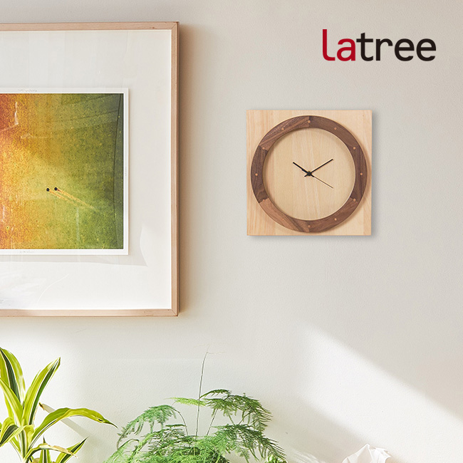 ◎Latree TIME ラトレ タイム ウォールクロック 045 輪-角 ビーチ PL1TIM-0450000-BWOL[木の壁掛け時計 文字盤がお洒落な木製クロック 木目が美しい個性的な壁掛時計 和室・洋室どんなインテリアとの相性が良い木製の時計]