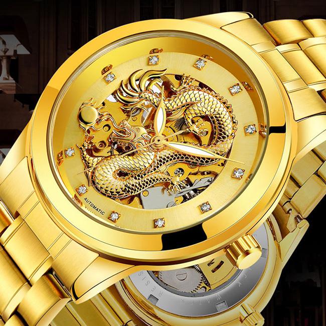 ◎3D 昇龍オートマチックスケルトンウォッチ[ゴールド/ホワイト/ブラック 腕時計 オートマチック スケルトン 自動巻き ドラゴン デザイン メンズ 男性用 アクセサリー ウォッチ]