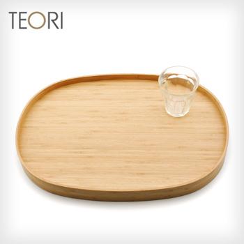 ◎TEORI BON テオリ ボン P-BN[竹を加工した竹集成材を使った丸のお盆(楕円のおぼん) 竹の集成材を利用したトレーは木製のトレイの中でも一際柾目が美しくおしゃれ]