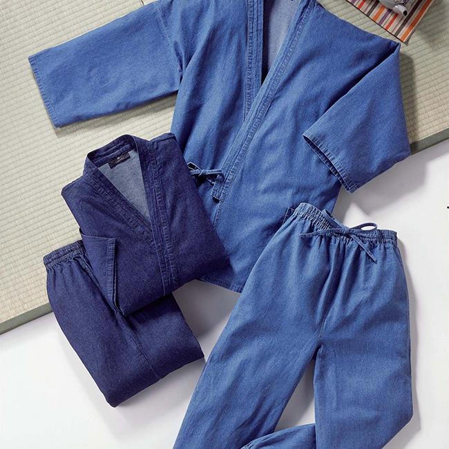 父の日のギフト プレゼントにもおすすめ ※ラッピング ※ 作業用の和風の部屋着 メンズ レディースのサイズあり 作業の時に着る日本の服 和服 SALE開催中 デニム作務衣 40096 ソフトブルー 2色セット 日本伝統の和の作業着をおしゃれ着用できる 女性の和の普段着 男性 インディゴブルー カジュアルに着こなしができるデニムの作務衣