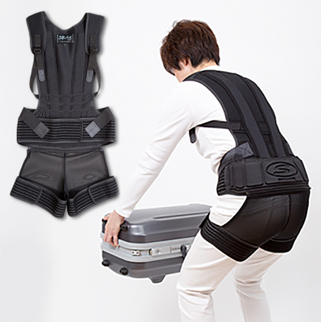 ◎ワークサポートスーツ[作業用 腰 ベルト コルセット 作業 姿勢 サポーター 黒 ブラック 男女兼用 メンズ レディース S M L LL]