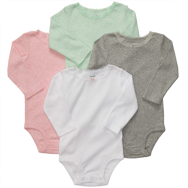 Rakuten ranking 2 ★ Carters (Carter's) girl sweet mint long sleeve Bodysuit 4 piece set baby body suits, floral print rompers pink white cotton underwear white light pink