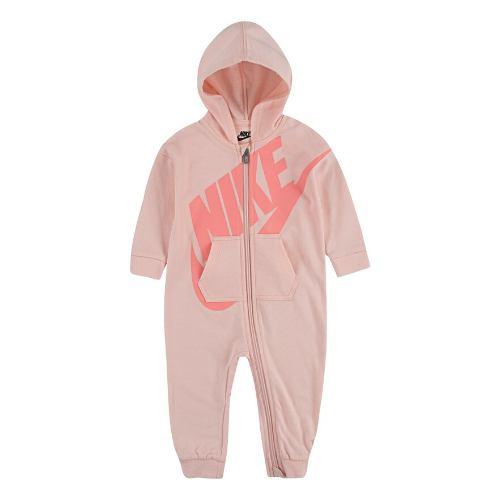 【送料無料+BFセールP5倍】nike ナイキ 女の子用Futura Big Swooshフード付きカバーオール(Dusty Pink) ジャンプスーツ ワンピース ロンパース パーカー 出産祝い 【選択】