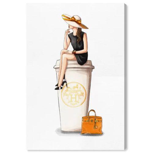 【送料無料☆割引クーポン対象】【安心の国内発送】 Oliver Gal オリバーガル 約61x41cm Cafe au Lait Orange Hermes エルメス インテリア 絵画 衣替え 引越し祝い 引っ越し祝い