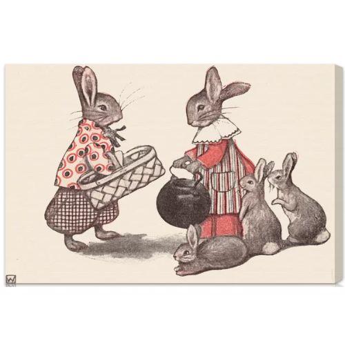 【送料無料+P3倍+クーポン】【まとめ買い割引★2枚目10%OFF】 Oliver Gal オリバーガル 約76x51cm Rabbit Family インテリア 絵画 衣替え 引越し祝い 引っ越し祝い