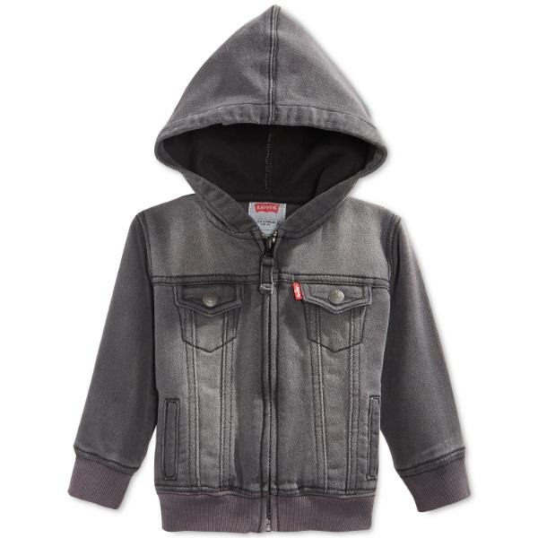 リーバイス Levi's 男の子用グレージップアップフード付きジャケット アウター パーカー 出産祝い 【ラ・クーポンで送料無料】【楽ギフ_包装選択 】