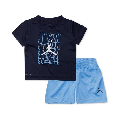 nike ナイキ Jordan ジョーダン 【2-7歳用】【Dri-FIT】 男の子用Jordan Waveジャンプマン半袖Tシャツ上下2点セット(University Blue) セットアップ 【楽ギフ_包装選択】【ラ・クーポンで送料無料】