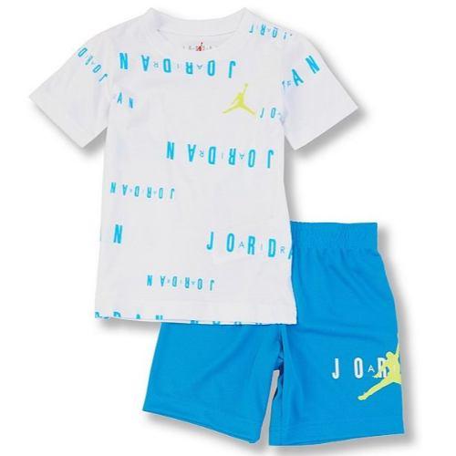 【送料無料+P3倍+クーポン】 nike ナイキ ジョーダン 男の子用Jordan Floate半袖Tシャツ上下2点セット(Equator Blue) セットアップ ジョガーパンツ