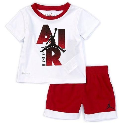 【送料無料+P3倍+クーポン】 nike ナイキ ジョーダン 男の子用Jordan Jumpman Iconic Logo半袖Tシャツ上下2点セット(Gym Red) セットアップ ジョガーパンツ