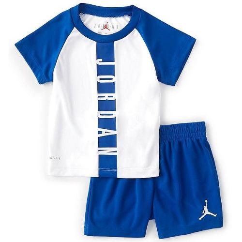 【送料無料+P3倍+クーポン】 nike ナイキ ジョーダン 男の子用Jordan Seasonal Core半袖Tシャツ上下2点セット(Game Royal) セットアップ ジョガーパンツ