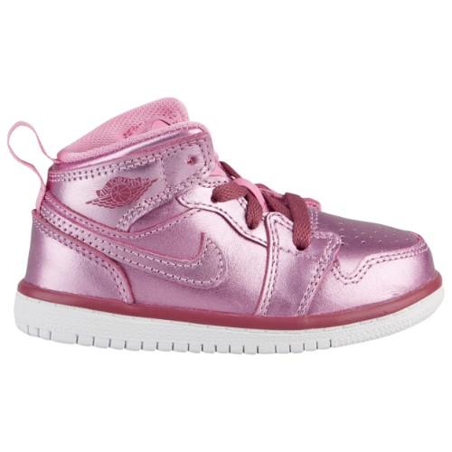 【送料無料★マラソンP5倍】nike ナイキ 【ベビー・キッズ(8.0-16.0cm)】 女の子用Jordan AJ 1 Mid (ピンク Rise/白い/Noble 赤) ジョーダン スニーカー 靴 ファーストシューズ 出産祝い