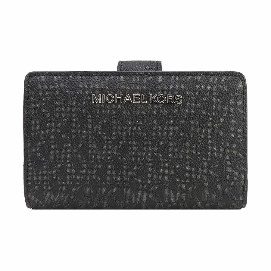 マイケルコース MICHAEL KORS 財布 二つ折り財布 35F8STVF2B BLACK シグネチャー アウトレット レディース ウォレット 新作 ギフト プレゼント