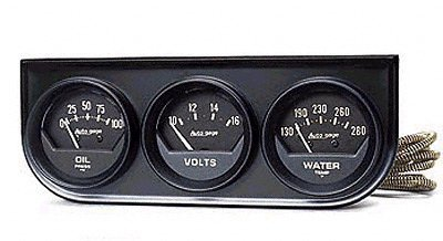 オートメーター 3連メーター 油圧計/ボルト電圧計/水温計 Φ52