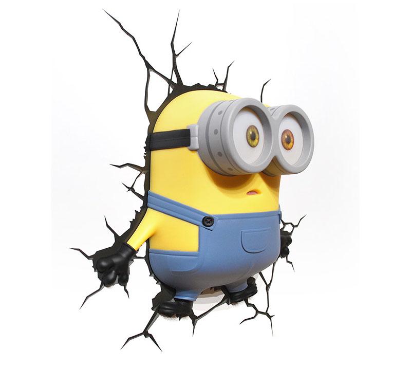 minions Bob Minion 3D Deco Light ミニオンズ ボブ ミニオン 3Dデコライト ひび割れステッカー ウォールライト