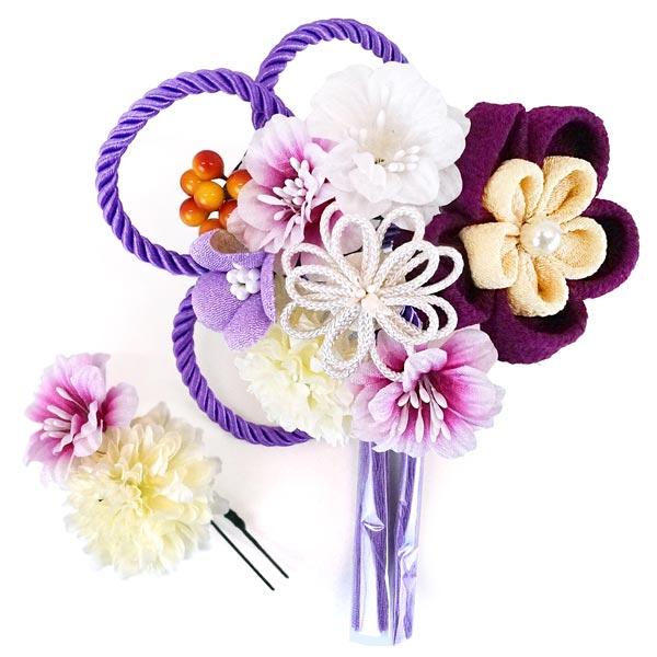 髪飾り2点セット かんざし つまみ細工 コーム ピン wk-350 成人式振袖 ちりめん細工 紫