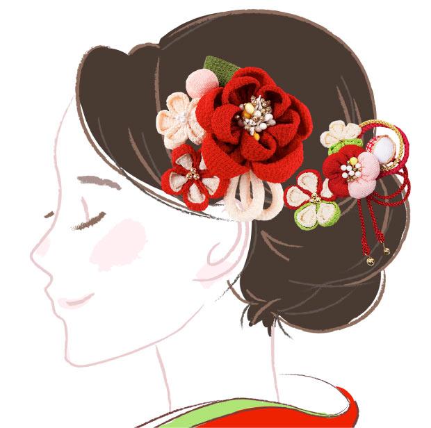 和装にぴったり 大きめで華やかな髪飾り 髪飾り3点セット 赤色 kk-007 かんざし コーム 成人式 花 ヘアーアクセサリー 卒業式 浴衣 年中無休 振袖 縮緬 祝開店大放出セール開催中 フラワー