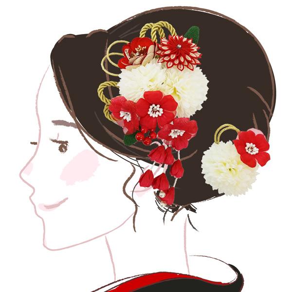 成人式 卒業式 結婚式 浴衣におすすめの髪飾りです 髪飾り 2点セット kk-084 格安 赤 かんざし 白 コーム型 5☆大好評 振袖 あす楽 花 レッド