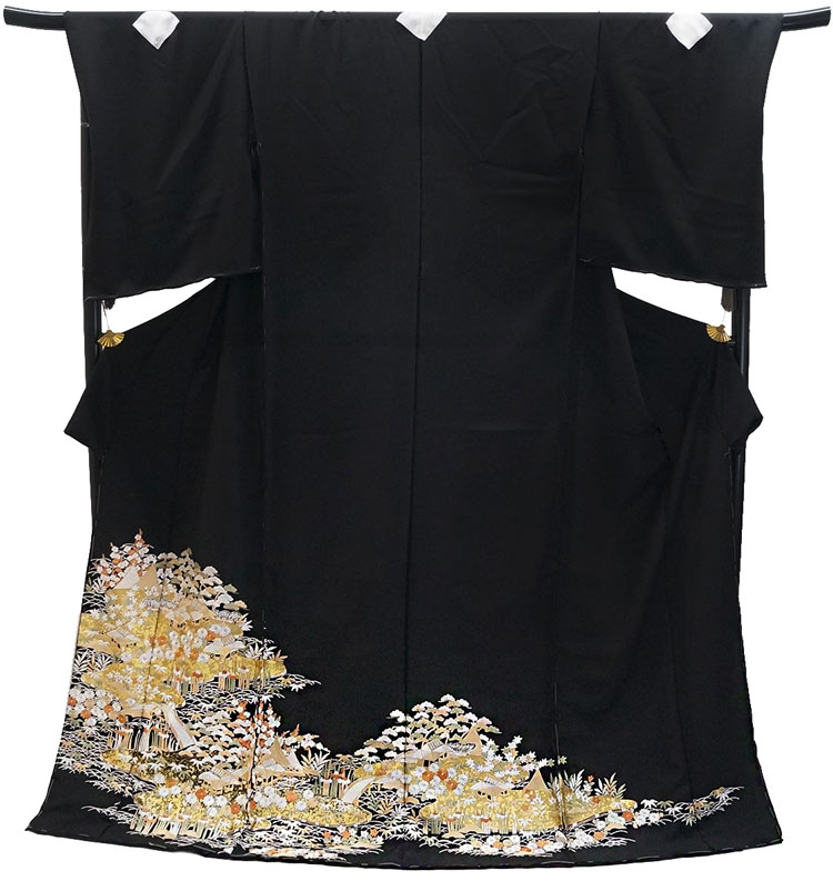 10%OFF セール 仕立付き 特選品 総手刺繍正絹黒留袖 to-522 茶屋ヶ辻文様 婚礼 結婚式