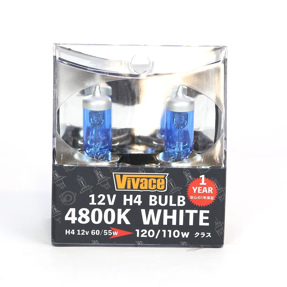 自動車ライト交換 ハロゲンバルブ 白光色 12V自動車用 【VIVACE】ホワイトバルブ 12V H4 4800K2個ハロゲンバルブ