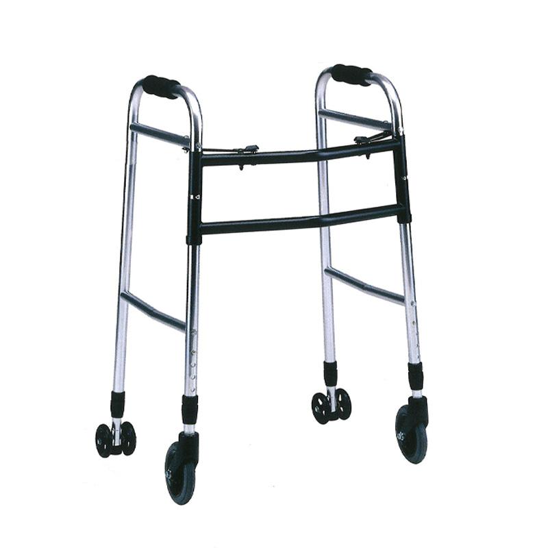 歩行器 アルミ製 ウォーカー 折り畳み型 歩行器 AL-107L クリスケアー キャスター グリップ 歩行補助 リハビリ クリスタル産業 代引不可