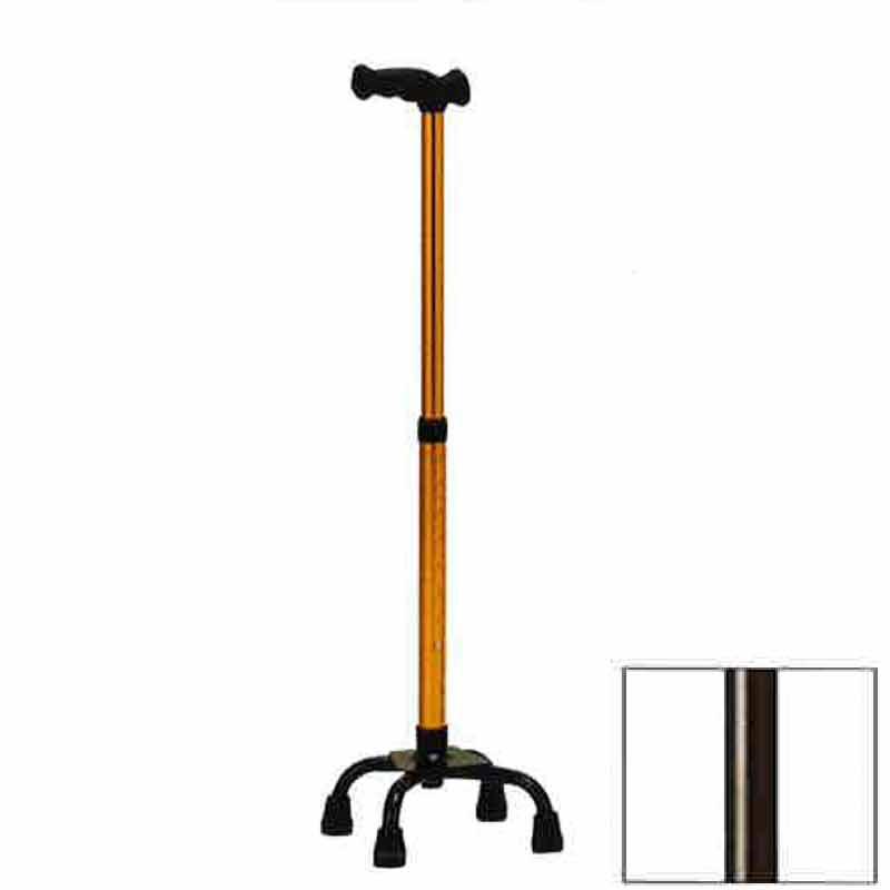 4つ足 杖 機能型クォードケインS スモールベース TQ-204S ブロンズ 高齢者 歩行補助 リハビリ クリスタル産業 代引不可