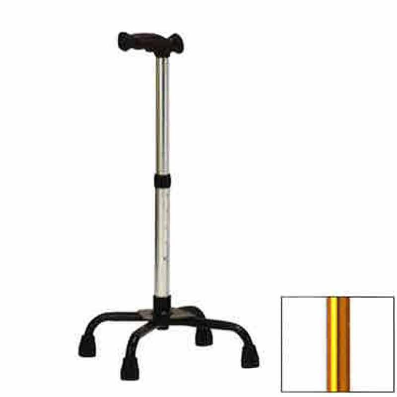 4つ足 杖 機能型クォードケインL TQ-401L ゴールド 高齢者 歩行補助 リハビリ クリスタル産業 代引不可