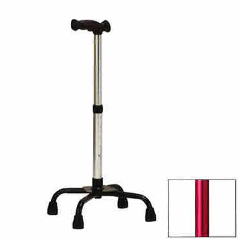 4つ足 杖 機能型クォードケインL TQ-403L レッド 高齢者 歩行補助 リハビリ クリスタル産業 代引不可