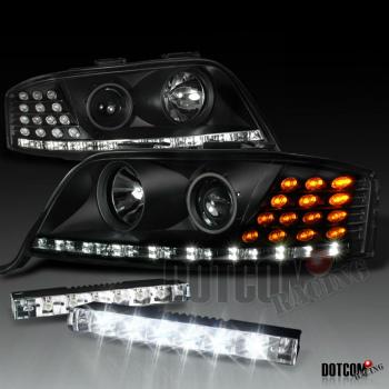 アウディ ヘッドライト 2002-2004 AUDI A6 BLACK R8 PROJECTOR HEADLIGHT W/ 6-LED BUMPER FOG LIGHT DRL 2002-2004アウディA6 BLACK R8プロジェクターヘッドライトW / 6-LED BUMPER FOG LIGHT DRL