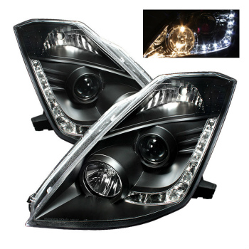 ☆送料無料☆USパーツ 海外メーカー輸入品 日産 フェアレディー Z ヘッドライト Fit Nissan 03-05 350Z Lamp 中古 完全送料無料 350ZブラックDRL LEDプロジェクターヘッドライトランプフェアレディ Headlights LED DRL FairLady フィット日産03-05 Black Projector