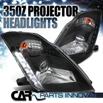 ☆送料無料☆USパーツ 海外メーカー輸入品 日産 卓出 フェアレディー Z ヘッドライト Fit 03-05 Nissan 350Z Z33 Fairlady SMD を合わせます HID LED プロジェクターヘッドライト+ LEDの03-05日産350Z Projector