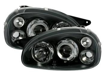 ☆送料無料☆USパーツ 海外メーカー輸入品 オペル ヘッドライト 直輸入品激安 black 新作多数 clear finish ANGEL EYES Headlights EYESヘッドライト 93から00のための黒色透明仕上げANGEL OPEL CORSA for 93-00 B
