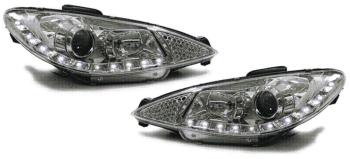 プジョー ヘッドライト Clear Chrome finish projector headlights with LED DRL for Peugeot 206 98-05 プジョー206 98から05のためのLED DRLとクリアクローム仕上げのプロジェクターヘッドライト