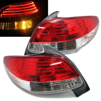 Red clear Finish LED tail lights rear lights for Peugeot 206 from 98-06