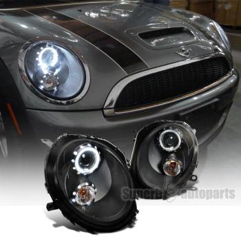 2007-2012 Mini Cooper Black Smoke LED Bar Halo Projector Headlights Left+Right