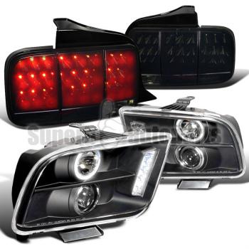 フォード マスタング ヘッドライト 2005-2009 Mustang Halo Pro Headlights+Sequential LED Tail Lights Glossy Black 2005-2009マスタングヘイロープロヘッドライト+シーケンシャルLEDテールは、光沢のある黒を点灯します