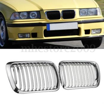 BMW グリル Chrome Front Bumper Kidney Grille Grilles For 1997-1998 BMW E36 3-Series M3 328i 1997-1998 BMW E36 3シリーズM3 328iについてはクロームフロントバンパー腎臓グリルグリル