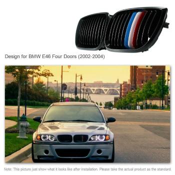 BMW グリル Pair Front Center Kidney Hood Grilles Matt Black Mixed Color for BMW E46 43AQ BMW E46 43AQのためのペアフロントセンター腎臓フードグリルマットブラックミックスカラー