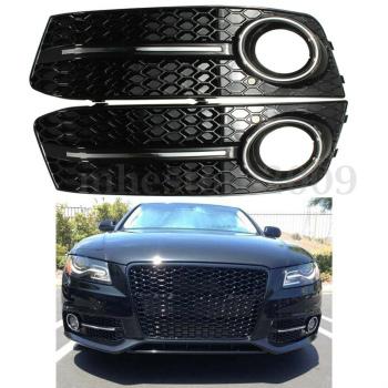 アウディ グリル Glossy Fog Light Cover Standard Style Grille Grill For Audi A4 B8 2009 2010 2011 アウディA4 B8 2009 2010 2011のために光沢のあるフォグライトカバー標準スタイルグリルグリル