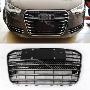 アウディ グリル W12 Style Chrome Frame Front Mesh Grill Grille Fit For Audi A6 S6 RS6 2013-2014 アウディA6 S6 RS6 2013年から2014年についてはW12スタイルChrome Frameのフロントメッシュグリルグリルフィット