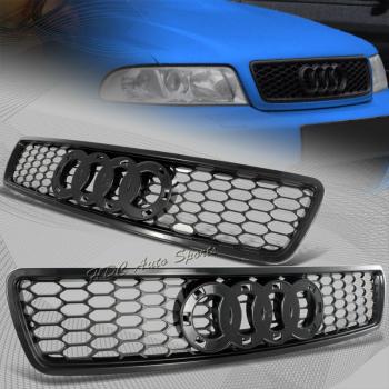 アウディ グリル For Audi A4 S4 B5 Black ABS Sport Mesh S-line RS4 Style Front Hood Grille Grill アウディA4 S4 B5ブラックABSスポーツメッシュS-ラインRS4スタイルフロントフードグリルグリルのための