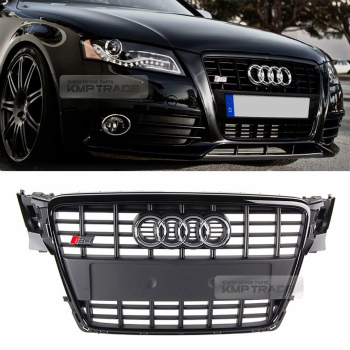 アウディ グリル S4 Style Black Frame Grille Logo Ring Chrome Emblem for AUDI 2009-2012 A4 / B8 AUDI 2009-2012 A4 / B8のためのS4スタイルブラックフレームグリルロゴリングクロームエンブレム