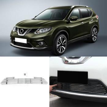 日産 エクストレイル グリル Aluminum Lower Bumper Grills Decorative Trims For Nissan X-Trail 2014-2016 日産・エクストレイル2014-2016用のアルミニウムより低いバンパーグリル装飾トリム