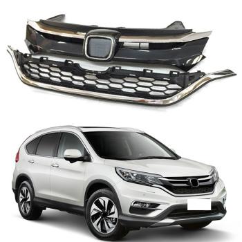 ホンダ CRV グリル Newest Style For Honda CR-V 15-16 Chromed Hood Grill Honeycomb Grilles Insert 2x ホンダCR-V 15-16クロームフードグリルハニカムグリルを挿入し2倍のために最新のスタイル