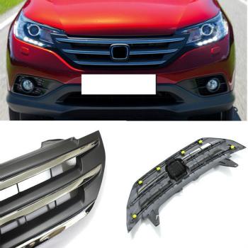 ホンダ CRV グリル ABS Chromed Front Grill Grille Vent Retrofit fit for Honda CRV 2012-2014 ホンダCRV 2012-2014のためのABSクロムメッキフロントグリルグリルベントレトロフィットフィット
