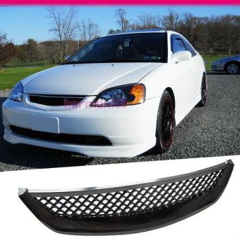 ホンダ シビック グリル Fit For 2001-2003 Honda Civic Coupe Sedan Type R ABS Front Mesh Hood Grill 2001-2003ホンダシビッククーペセダンタイプR ABSフロントメッシュフードグリルのための適合
