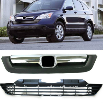 ホンダ CRV グリル 2pcs front grill + bumper grille Replace Retrofit for Honda CRV CR-V 2007-2009 2個フロントグリル+バンパーグリルは、ホンダCRV CR-V 2007年から2009年のための改修を交換してください