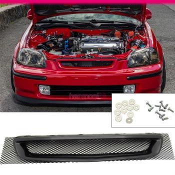 ホンダ シビック グリル Fit For 96 97 98 Honda Civic DX LX EX EK T-R Front Mesh Black Hood Grille Grill 96 97 98フィットホンダシビックDX LX EX EK T-Rフロントメッシュブラックフードグリルグリル