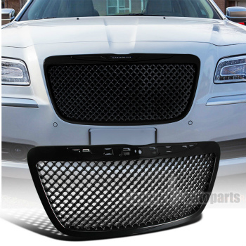 クライスラー グリル 2011-2014 Chrysler 300/300C Black Mesh Honeycomb Style Front Hood Grille 2011-2014クライスラー300 / 300Cブラックメッシュハニカムスタイルフロントフードグリル