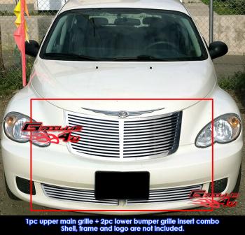 クライスラー グリル Fits Chrysler PT Cruiser Perimeter CNC Cut Grill Combo 2006-2010 クライスラーPTクルーザー境界CNCカットが収まるグリルコンボ2006から2010